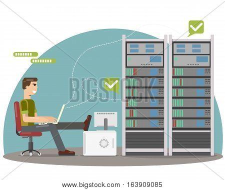 System administrator server checks for errors database. Vector illustration