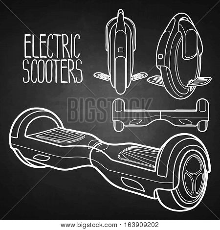 Graphic collection of electric scooters drawn in line art style. Mono wheel and hoverboard isolated on chalkboard. Modern environmental transportation technologies.