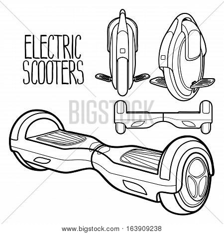 Graphic collection of electric scooters drawn in line art style. Mono wheel and hoverboard isolated on white background. Modern environmental transportation technologies. Coloring book page design