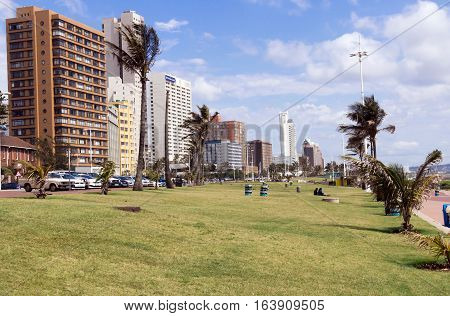 Grass Verge Against Goldem Mile City Beach Front Skyline