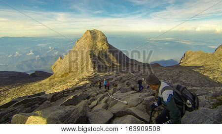 Ranau,Sabah-April 30,2014:Climber move down from Low's Peak to Sayat-Sayat check point of mount Kinabalu,Sabah.Its the highest mountain in Malaysia is one of Borneo's most popular climbers attraction