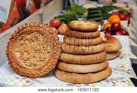 The picture of uzbek bread called