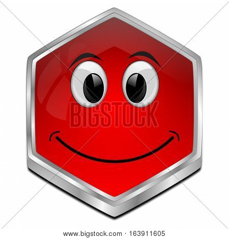 red Button with smiling face - 3D illustration