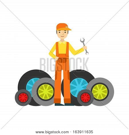 Smiling Mechanic And MAny Wheels In The Garage, Car Repair Workshop Service Illustration. Cartoon Male Character In Dungarees Working In Auto Repair Shop.