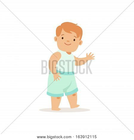 Redhead Boy Walking, , Adorable Smiling Baby Cartoon Character Every Day Situation. Part Of Cute Infants And Toddlers Vector Illustration Series