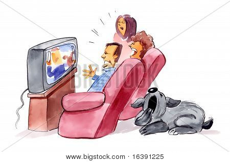 humorous illustration of family watching television and bored dog poster