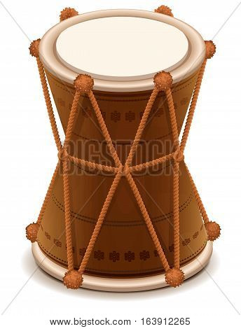 Mridangam indian double wooden drum. Isolated on white vector illustration