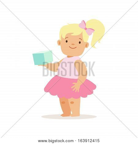 Blond Girl With Book In Pink Skirt, Adorable Smiling Baby Cartoon Character Every Day Situation. Part Of Cute Infants And Toddlers Vector Illustration Series