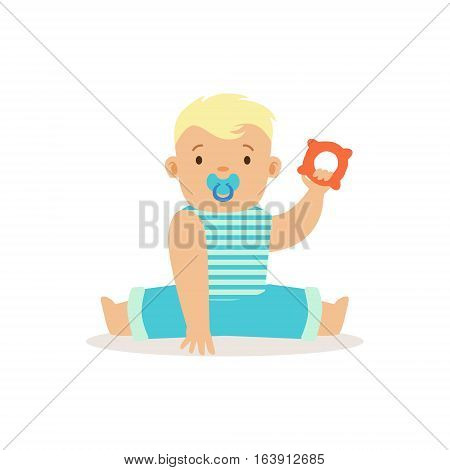 Boy Sitting With Dummy And Teethter, Adorable Smiling Baby Cartoon Character Every Day Situation. Part Of Cute Infants And Toddlers Vector Illustration Series