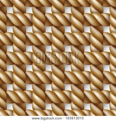 Seamless pattern background yellow rope woven in the form of sennit isolated on white