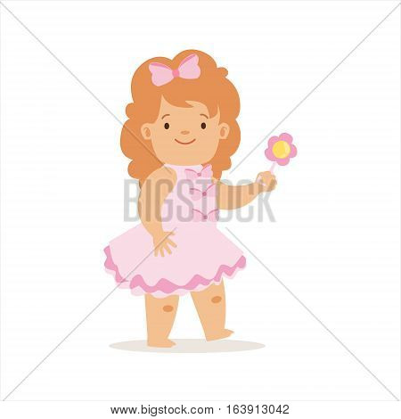 Girl In Pink Dress Walking With Flower, Adorable Smiling Baby Cartoon Character Every Day Situation. Part Of Cute Infants And Toddlers Vector Illustration Series