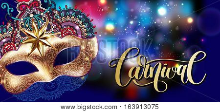 3d gold venetian carnival mask with ornamental floral feather and hand lettering on blue shine background, calligraphy vector illustration eps 10
