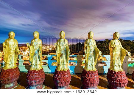 Buddha statues with night sky in Fo Guang Shan