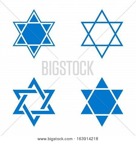 Vector line and silhouette star of Israel icon set