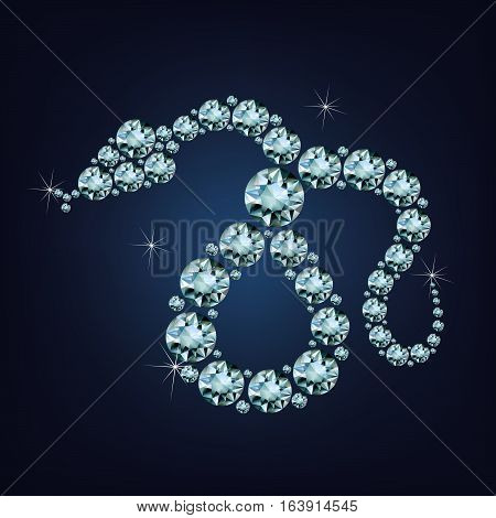 Happy new year 2025 creative greeting card with Snake made up a lot of diamonds