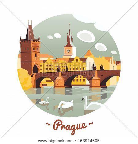 Prague Charles Bridge in circle vector Illustration