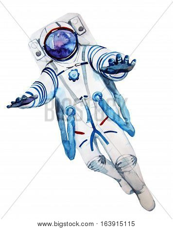 Watercolor astronaut in a spacesuit isolated on white background. Open space design