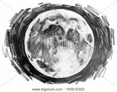 Graphic moon drawn by pencil in hatching technic. Cosmos art isolated on white background