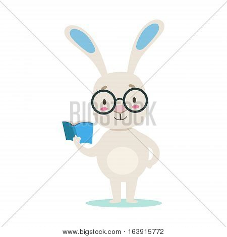 Clever Little Girly Cute White Pet Bunny Wearing Glasses Reading A Book, Cartoon Character Life Situation Illustration. Humanized Rabbit Baby Animal And Its Activity Emoji Flat Vector Drawing