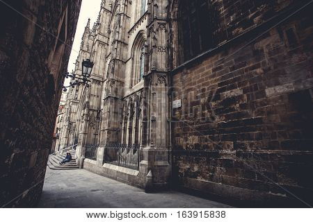 Cathedral Holy Cross and Saint Eulalia. Europa, Barselona, Spain. Old Building in Barcelona, Spain