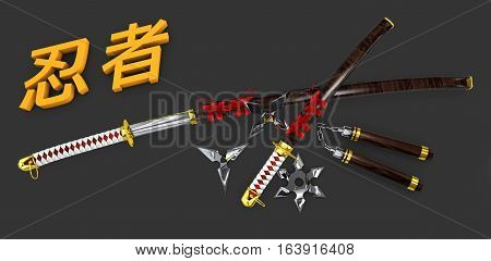 Japanese Katana. Samurai Set Isolated Weapons Whit 3D Ninja Word