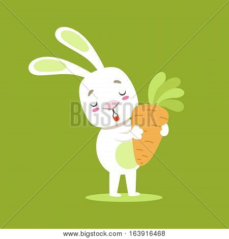 Little Girly Cute White Pet Bunny With Giant Carrot, Cartoon Character Life Situation Illustration. Humanized Rabbit Baby Animal And Its Activity Emoji Flat Vector Drawing