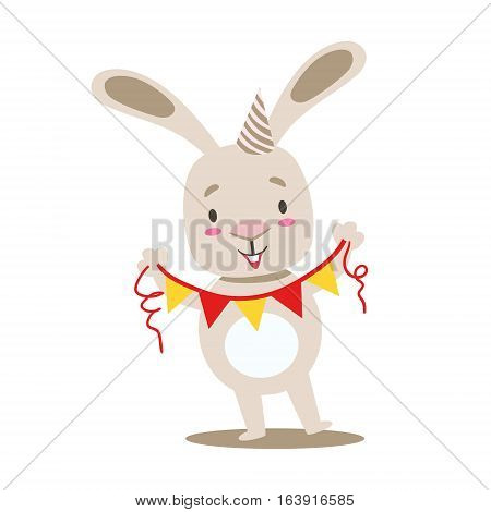 Little Girly Cute White Pet Bunny With Birthday Paper Garland On A String, Cartoon Character Life Situation Illustration. Humanized Rabbit Baby Animal And Its Activity Emoji Flat Vector Drawing