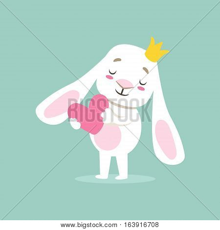 Little Girly Cute White Pet Bunny In Princess Crown Holding A Pink Heart, Cartoon Character Life Situation Illustration. Humanized Rabbit Baby Animal And Its Activity Emoji Flat Vector Drawing poster