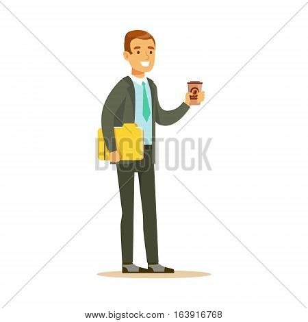 Businessman With Coffee And Papers, Business Office Employee In Official Dress Code Clothing Busy At Work Smiling Cartoon Characters. Part Of Marketing And Management Series Of Vector Illustrations.