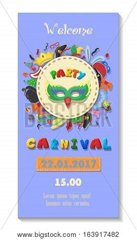 Carnival party poster design. Flyer or invitation template. Funfair ticket vector cartoon illustration