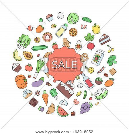 Sale food and drink circle outline illustration. Clean and simple design.