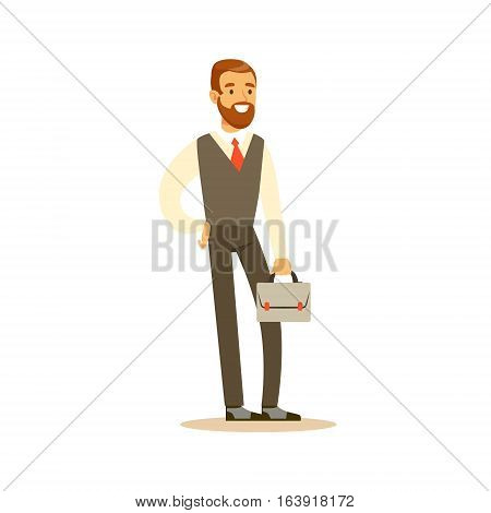 Beardy Businessman With Suitcase, Business Office Employee In Official Dress Code Clothing Busy At Work Smiling Cartoon Characters. Part Of Marketing And Management Series Of Vector Illustrations.