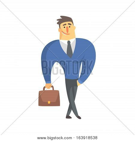 Smiling Businessman Top Manager In A Suit, Office Job Situation Illustration. Funny Male Character Working In Business Financial Sphere Flat Cartoon Character.