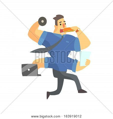 Businessman Top Manager In A Short Sleeve Shirt With Four Arms Multitasking, Office Job Situation Illustration. Funny Male Character Working In Business Financial Sphere Flat Cartoon Character.