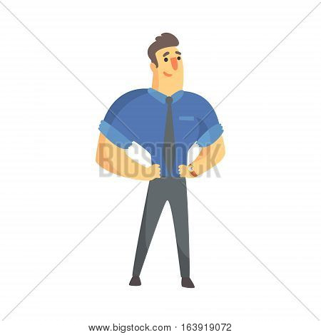Content Successful Businessman Top Manager In A Short Sleeve Shirt, Office Job Situation Illustration. Funny Male Character Working In Business Financial Sphere Flat Cartoon Character.