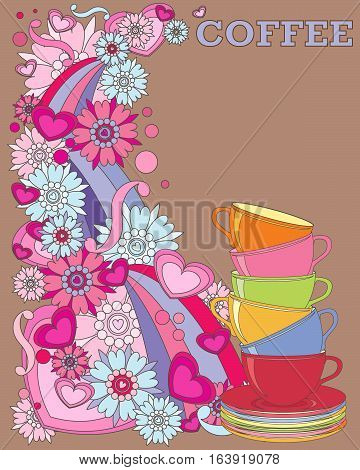 an illustration of a retro coffee advert with bright colorful flower and heart design a stack of cups and saucers on a brown background