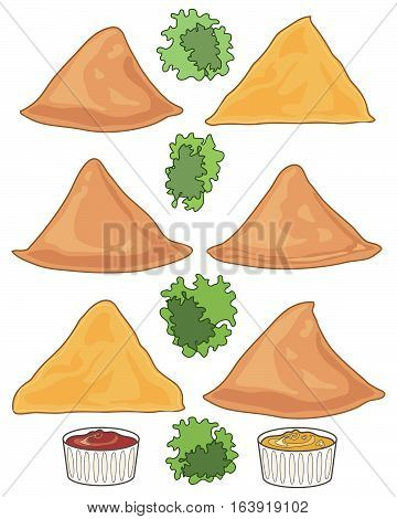 an illustration of six samosas with garnish and two dips on a white background in the format of a food advert