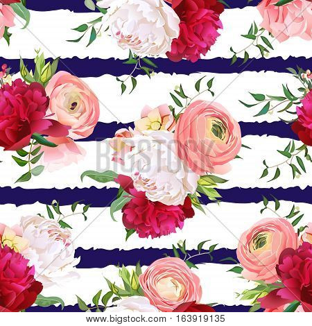 Burgundy red and white peonies ranunculus rose seamless vector pattern. Navy striped elegant print with luxury bright flowers.