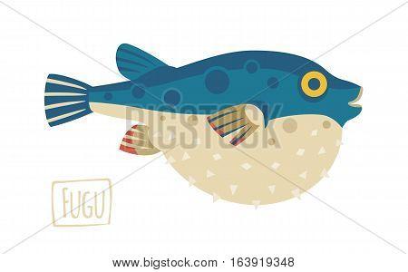 Vector illustration of a Fugu pufferfish cartoon style