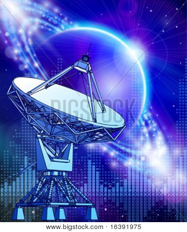 satellite dishes antenna - doppler radar, blue planet & electromagnetic waves - technology background