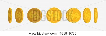 Gold Coins Set Isolated On White In Different Positions