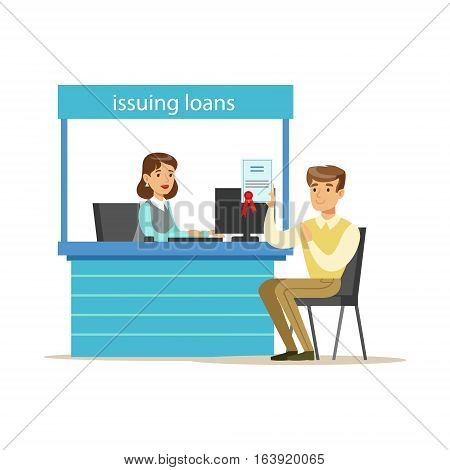 Bank Client Getting A Loan. Bank Service, Account Management And Financial Affairs Themed Vector Illustration. Smiling Cartoon Characters In Bank Office Interior Vector Illustration