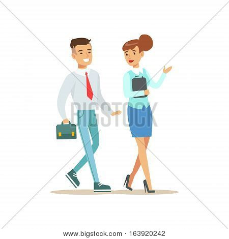 Colleagues Walking And Talking. Bank Service, Account Management And Financial Affairs Themed Vector Illustration. Smiling Cartoon Characters In Bank Office Interior Vector Illustration.