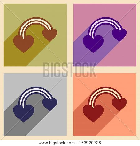 Set of flat web icons with long shadow rainbow heart