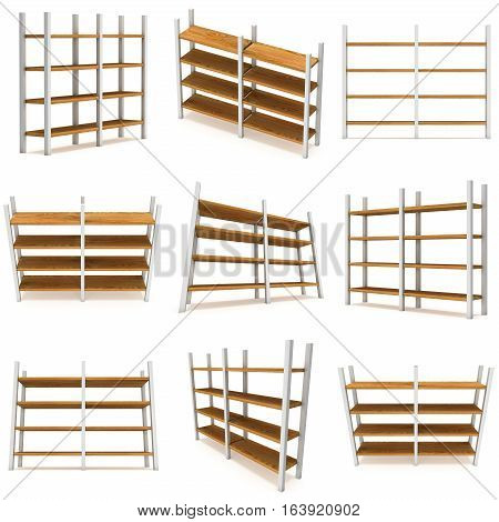 Storage stack set. 3D render isolated on white. Platform or Stand Illustration. Template for Object Presentation.