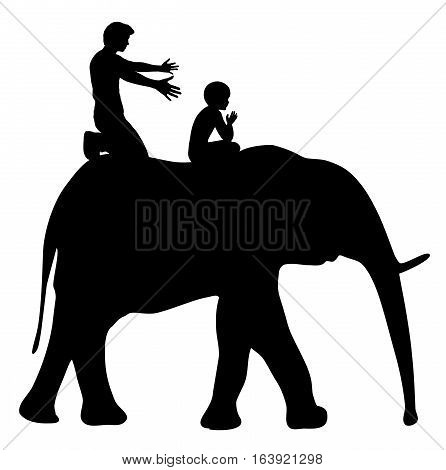 Raise Strong Kids. Father is teaching child to ride an elephant, educational metaphor.