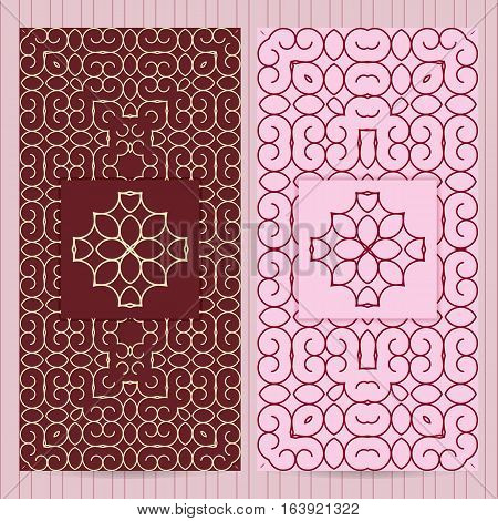 Set Of Cards 4X8 Inch Size. Collection Of Business Templates, Abstract Geometric Patterns In Islamic