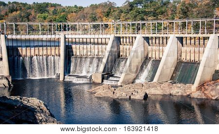 Hydro electric dam on a river in Maine in the USA