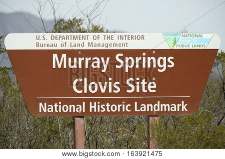 SIERRA VISTA, ARIZONA, DECEMBER 20. The Murray Springs Clovis Site Trailhead on December 20, 2016, east of Sierra Vista, Arizona. A sign stands at the Murray Springs Clovis Paleoindian Site Trailhead.