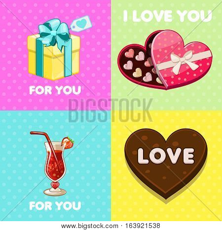 Cartoon love icons collection, pack of Four nice valentine greeting cards